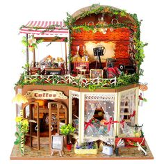 Kits DIY Wooden Dollhouse Miniature Dolls House With Cover Idea Gift Coffee Shop #Cuteroom