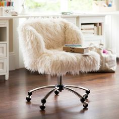 Refabbed with fur desk chair makeover crafty stuff for Chair keeps sinking