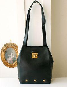 8a24b88157 Salvatore Ferragamo Bag Black Leather Vintage Authentic by hfvin Sac A  Main, Sacs À Main
