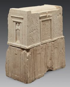THE CHAPEL STELE-KÉMES, TOP MUSICIANS. Rare and important monument shaped shrine sitting on a front speaker. Limestone. Egypt, Middle Kingdom, Thirteenth Dynasty, ca. 1770 BC.