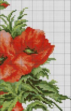 Poppies 3 of 6 Cute Cross Stitch, Cross Stitch Flowers, Counted Cross Stitch Patterns, Cross Stitch Charts, Cross Stitch Embroidery, Stitch Cartoon, Cross Stitch Pictures, Brazilian Embroidery, Magnolia Flower
