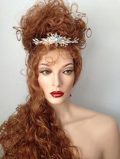Princess Talia, Long wig with Swarovski tiara, Strawberry Blonde, Regal