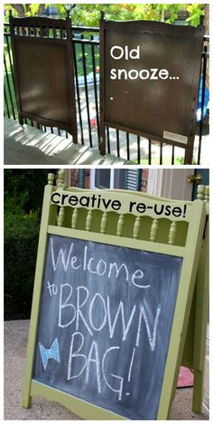 "CRIB SIGN: Crib head and footboard #upcycled and #recycled into fun signs via chalkboard paint to make fun sandwich-boards for outdoor signs -""party this way- or board signs or even easels for a room."