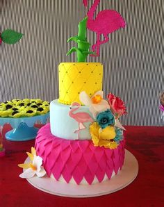 Super cute pineapple themed cake with pink, gold and black and white stripes Luau Birthday Cakes, Luau Cakes, Birthday Treats, Party Cakes, Girl Birthday, Birthday Parties, Happy Birthday, Pink Flamingo Party, Flamingo Cake