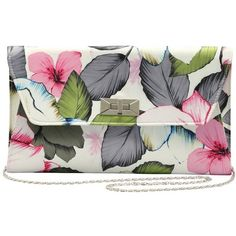 M&Co Floral Print Clutch Bag (100 PEN) ❤ liked on Polyvore featuring bags, handbags, clutches, purses, accessories, lilac, silver clutches, chain strap handbag, floral crossbody purse and lilac handbag