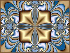goud en blauw victoriaanse fractal wallpaper