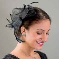 Black Crinoline Bow Feather Comb Fascinator_ by KaKyCo| sye.com