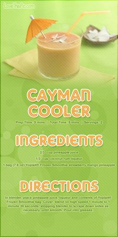 Cayman Cooler Smoothi ( can make with or w/o alcohol)