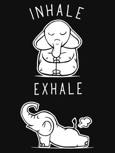 'Funny Elephant Inhale Exhale Yoga' T-Shirt by ONCE ADAM - - Millions of unique designs by independent artists. Find your thing. Elephant Quotes, Funny Elephant, Elephant Love, Elephant Art, Quotes About Elephants, Elephant Gifts, Image Elephant, Frases Yoga, Funny Quotes