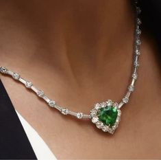 Ct Heart Cut Emerald & Diamond Tennis Necklace Solid White Gold Over Luxury Jewelry, Modern Jewelry, Boho Jewelry, Fine Jewelry, Fashion Jewelry, Jewellery, Jewelry Design Earrings, Emerald Jewelry, Necklace Designs