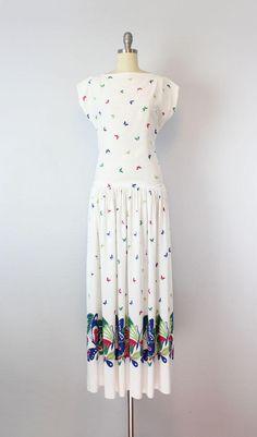 vintage 40s butterfly maxi dress / 1940s novelty print dress /
