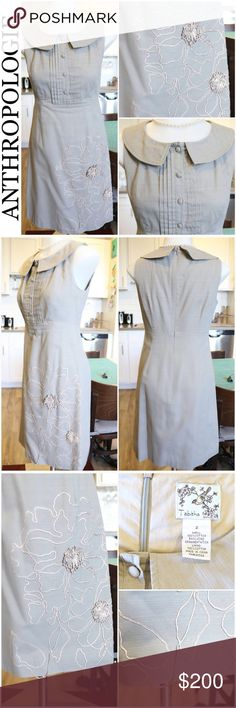 Anthropologie Button Up Collar Flower Dress This amazingly beautiful Anthropologie dress by Tabitha is a rare gem and so hard to give up. This beautiful gray dress features a pleated button up top with collar and delicate fringe flower design detail sewn on the bottom of the dress. Only flaw is bottom of dower design has a seem out and it is loose as shown in the 3rd picture. Material: 100% Cotton   Bundle and save 10% Free gift with purchase over $20 Anthropologie Dresses Midi