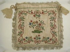 Drawstring Bag, 1775 - 1800, American or European, silk, Width - 10-1/2 inches