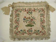 Drawstring Bag, 1775 - 1800, American or European, silk, Width - 10-1/2 inches