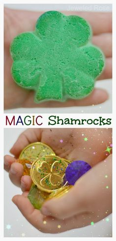 Magic shamrocks are lots of fun for kids, and they are really easy to make!  My girls had a blast using magic to free the treasures from inside the rocks.