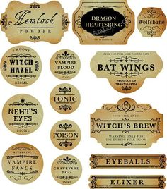 Halloween food printable labels to freak people out :-)
