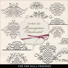 Freebies Kit of Vintage Book Monogram Ornaments:Far Far Hill - Free database of digital illustrations and papers