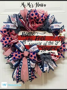 Patriotic Wreath, Patriotic Decorations, 4th Of July Wreath, Mesh Ribbon, Make All, Florida Home, Red White Blue, Deco Mesh, Fourth Of July