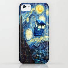 Tardis Doctor Who Starry Night iPhone & iPod Case