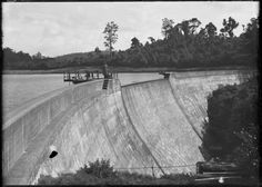 Spillway at Waitakere Dam, Auckland region. 1910-1926. Read about the Waitakere Ranges Water Supply System at http://www.ipenz.org.nz/heritage/documents/Waitakere%20Ranges%20Dams%20Register%20Report%20%281.5MB%291.pdf