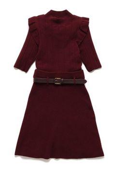 Dark Red Knit Mini Dress with Belt