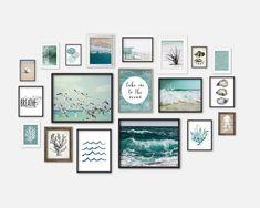 bathroom decoration themes Ocean Theme Gallery Wall Art Set of 19 Prints, Seaside Home Bathroom Decor, Aqua Seafoam Art, Waves Beach Seaweed Oysters Coral Seashell Art Ocean Themes, Beach Themes, Seaside Bathroom, Bathroom Wall, Coastal Bathrooms, Seafoam Bathroom, Small Bathroom, Bathroom Ideas, Modern Home Furniture