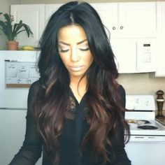 black hair with brown ombre look