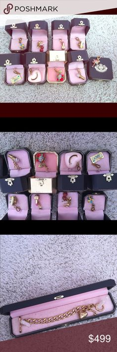Juicy Couture Charms & CHARM BRACELET Pick whatever charms you like or bracelet - can make separate, willing and open to all offers. CHARMS FOR SALE: - Ice Cream, Gold Edition Present, Cherries, Lipstick, Ice Cream, Snowflake, Juicy License Plate (have a box for it), and original charm bracelet I DO NOT HAVE THE BIG HEART OR PINWHEEL -sorry  already sold... Juicy Couture Jewelry