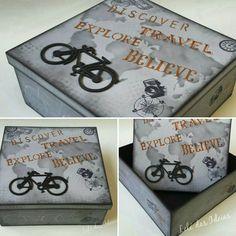 Caixa organizadora em pintura com stencil no tema aventura, viagem, bike, masculino.