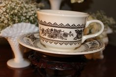 Brown floral ironstone cup and saucer,for rent from southernvintagegeorgia.com