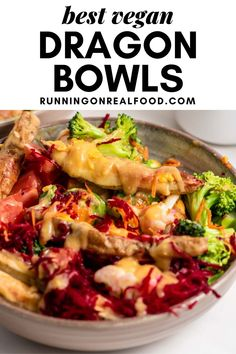 These healthy vegan dragon bowls will soon be one of your favourite meals! They're full of healthy ingredients and topped with the most delicious miso gravy that really brings it all together. Vegan Recipes Easy, Vegan Desserts, Real Food Recipes, Dragon Bowl, Healthy Vegan Breakfast, Make Ahead Lunches, Vegan Meal Prep, Vegan Dinners, Plant Based Recipes