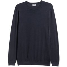 Premium Cotton Sweater $34.99 (€15) via Polyvore featuring tops, sweaters, ribbed cotton sweater, extra long sleeve sweater, long sleeve sweater, fine knit sweater and dark blue sweater
