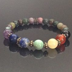 This lovely 7 Chakra gemstone bracelet is made with crystals believed to help…
