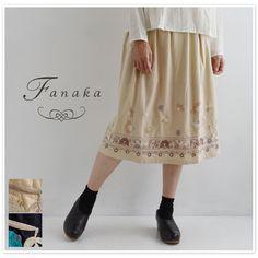 【Fanaka ファナカ】 コットン チェーン ステッチ 刺繍 スカート (62-2163-110)