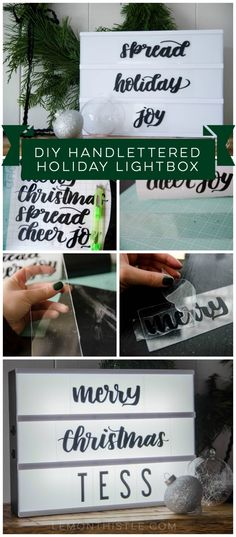 DIY Handlettered Holiday Lightbox- with free downloads