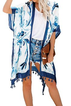 Blue Bohemian Print Open Front Loose Kimono Beach Cover Up Women's Summer Fashion, Boho Fashion, Womens Fashion, Kimono Beach Cover Up, Boho Swim Suits, Cute Kimonos, Best Casual Outfits, Summer Outfits, Mode Boho