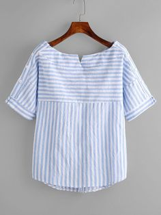 Shop Boat Neckline Contrast Striped Blouse With Buttons online. SheIn offers Boat Neckline Contrast Striped Blouse With Buttons & more to fit your fashionable needs. Blouse Patterns, Clothing Patterns, Blouse Designs, Bluse Outfit, Casual Outfits, Fashion Outfits, Shirt Refashion, Indian Designer Wear, Mode Style