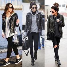 Look: 1) Legging preta + Tenis Nike + Moletom cinza com T-shirt branca + Jaqueta de couro preta + Óculos escuro. 2) Calça…