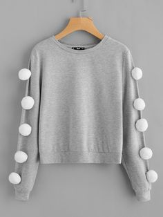 To find out about the Pom Pom Sleeve Heather Knit Sweatshirt at SHEIN, part of our latest Sweatshirts ready to shop online today! Teen Fashion Outfits, Cute Fashion, Trendy Outfits, Kids Fashion, Cute Outfits, Jugend Mode Outfits, Mode Hijab, Ladies Dress Design, Pulls