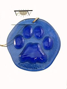 Paw Print Suncatcher Cobalt Blue 100 Recycled Glass  Made in USA ** Want additional info? Click on the image.