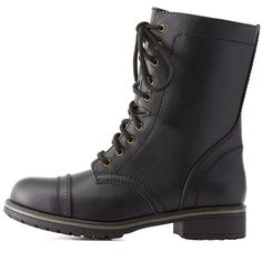 Charlotte Russe Lace-Up Combat Boots ($39) ❤ liked on Polyvore featuring shoes, boots, ankle booties, black, black lace up ankle booties, black boots, black booties, chunky black boots and black combat boots