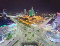Warsaw City Centre - Palace of Culture lit green due to #Legia #Warszawa football Championship