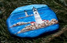 Custom order that I painted for Christmas gift. Boston lighthouse and Graves lighthouse right behind it. One of my favorite things to paint is lighthouse. Watch my Etsy site for more to be added soon.