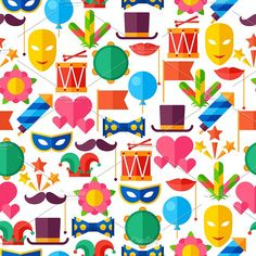 Carnival seamless patterns. Graphics Celebration seamless patterns with carnival flat icons and objects. by incomible