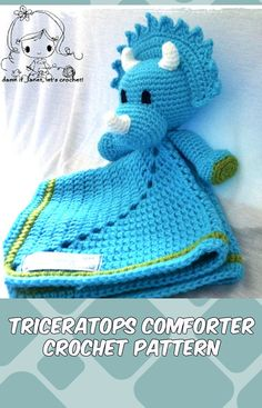 Crochet Comforter Pattern   Crochet the triceratops comforter and gift it to the new baby in your life - perfect for bed time or for a baby bedroom decor collection