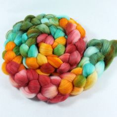 Polwarth/Silk Roving handpainted  Spinning Fiber by SpunRightRound, $22.95