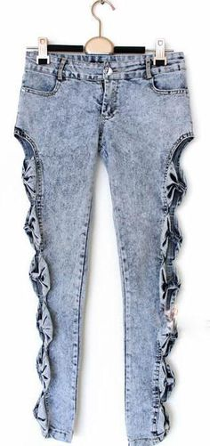 Vintage Detailed Woman Side Bow Cutout Ripped Denim Sexy Jeans Jeggings Trousers, AS THE PICTURE, L in Denim & Jeans | DressLily.com