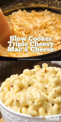 Slow Cooker Triple Cheesy Mac and CheeseCrock Pot Mac and Cheese is a simple recipe that you can toss together in just 5 minutes. It is truly one of our favorite recipes in our book! It's pure comfort in a bowl, with perfectly tender corkscrew pasta Cheesy Mac And Cheese, Macaroni Cheese Recipes, Easy Crockpot Mac And Cheese Recipe, Best Mac And Cheese, Pasta With Cheese, Mac And Cheese Recipe With Cream Cheese, Velveeta Mac And Cheese, White Mac And Cheese, Gluten Free Mac And Cheese