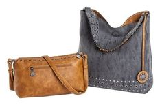 Sydney Love Ladies Reversible Hobo Bag with Inner Pouch - Saddle and Charcoal