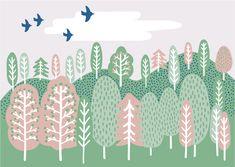 【Forest】#illust #testile #design #森 #textile #イラスト #北欧デザイン #北欧イラスト #テキスタイル Iroha, Scandinavian Design, Scenery, Kids Rugs, Illustration, Pictures, Animals, Decor, Photos